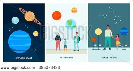 A Set Of Vector Posters With People Visiting The Planetarium.