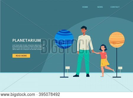 Planetarium Site With People Visiting Exhibition Flat Vector Illustration.