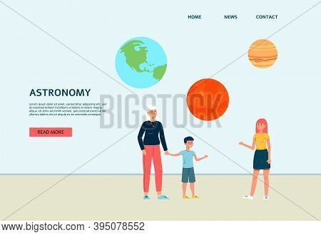 Site For Astronomy Lessons And Planetarium Lectures Flat Vector Illustration.