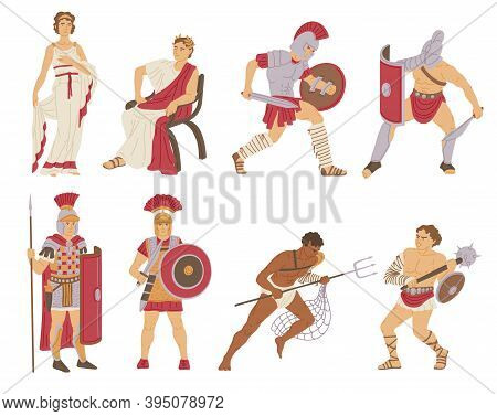 Vector Set Of Historical Characters Free And Slaves People Of Ancient Rome Era