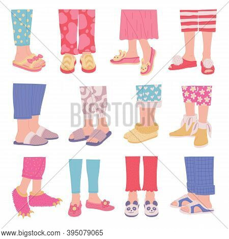 Set Of Legs In Cosy Home Footwear And Slippers Flat Vector Illustration Isolated.