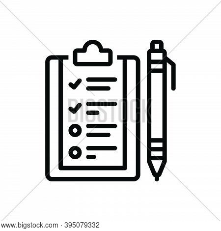 Black Line Icon For Subject Context Text Paper Script Theme Topic Information Document Page Pen