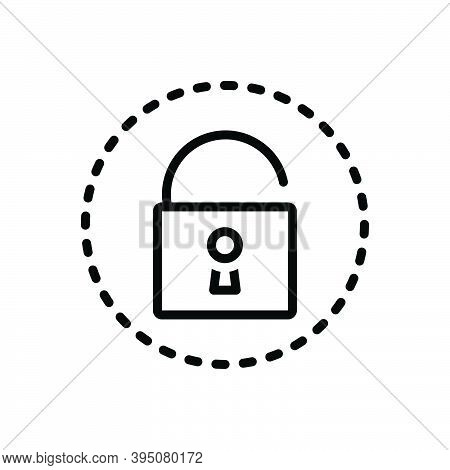 Black Line Icon For Reveal Unlock Confidential Access Insecure Declare Uncover Privacy Fraud Show Tr