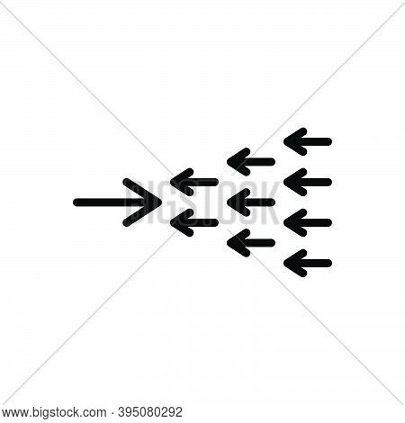 Black Line Icon For Exception Omission Exclusion Against Arrow Opposite Contrary Against Adverse