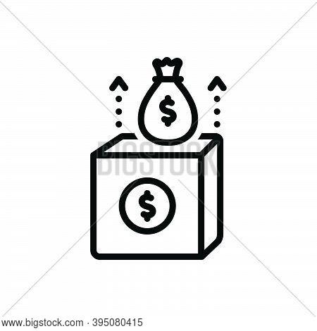 Black Line Icon For Revenue Income Proceeds Rewards Profit Receipt Wealth Box Fund Economy Money Con