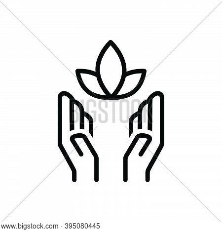 Black Line Icon For Soul Inspiration Feeling Psyche Yoga Healthy Flower Meditation Natural Prevent