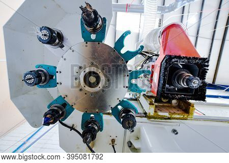 Detail Of The Cutting Tools Of A High Speed Cnc Machine In A Plastic Factory. Image Suitable For Ind