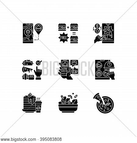 Food Delivery Service Black Glyph Icons Set On White Space. Real-time Order Tracking. Special Offers