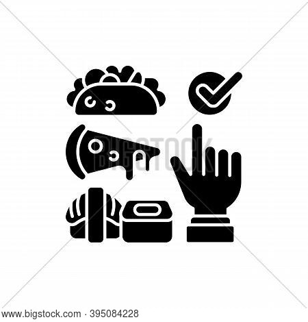 Choosing Cuisine Black Glyph Icon. Fast-food Options. Burritos, Tacos. Asian Cuisine. Sushi And Rame