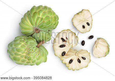 Sugar Apple Or Custard Apple Isolated On White Background With Clipping Path. Exotic Tropical Thai A