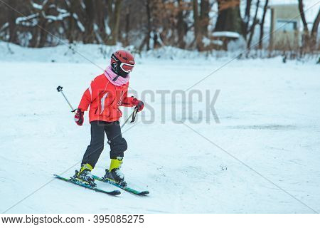 Lviv, Ukraine - January 12, 2019: Boy Skiing Down By Hill. Winter Activities