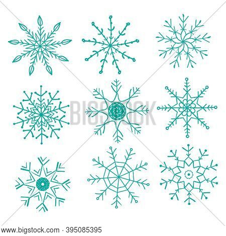 Set Of 9 Snowflakes, Separate Elements Isolated On White Background