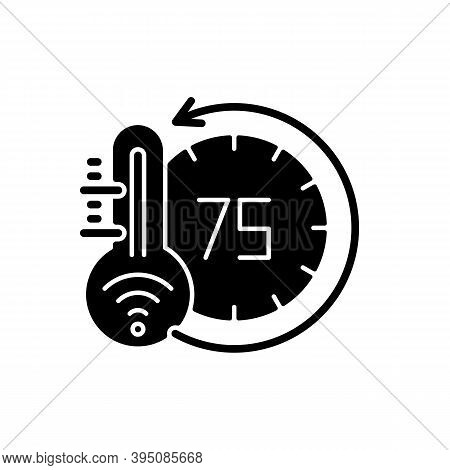 Thermostat Black Glyph Icon. Smart Home Monitoring Future Devices. Measuring Temperature Inside Your