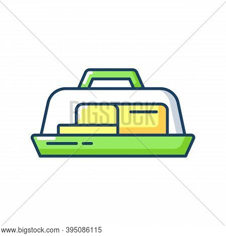 Butter Dish Rgb Color Icon. Plate With Lid For Dairy Product. Milky And Fatty Food. Kitchen Tool For