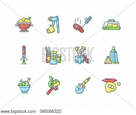 Kitchen Tools Rgb Color Icons Set. Cooking And Serving Meal. Home Culinary. Food Preparation. Househ