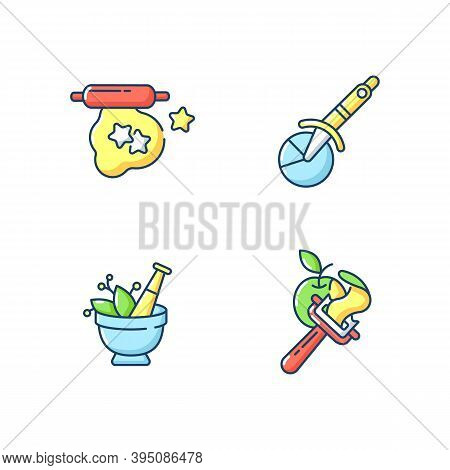 Kitchen Utensils Rgb Color Icons Set. Cookie Cutter. Dough For Baking. Pizza Wheel Knife. Vegetable