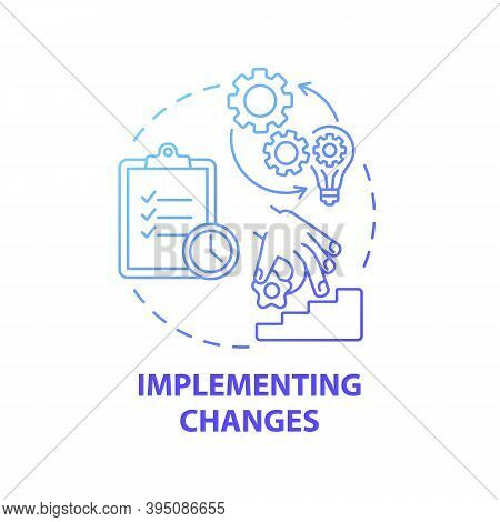 Implementing Changes Concept Icon. Business Consulting Stage Idea Thin Line Illustration. Establishi