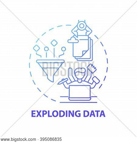 Exploding Data Concept Icon. Business Challenges Idea Thin Line Illustration. Data-related Problems.