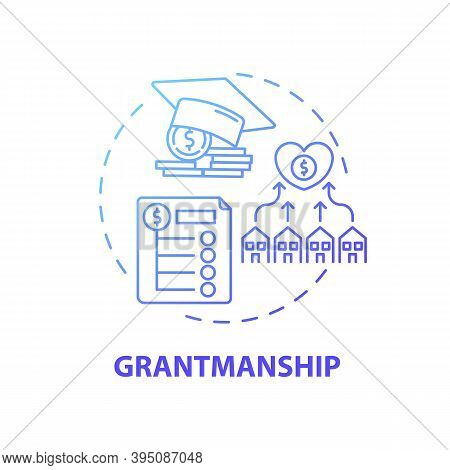 Grantmanship Concept Icon. Top Business Consulting Service Idea Thin Line Illustration. Fellowships,