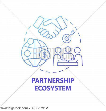 Partnership Ecosystem Concept Icon. Digital Consulting Component Idea Thin Line Illustration. Combin