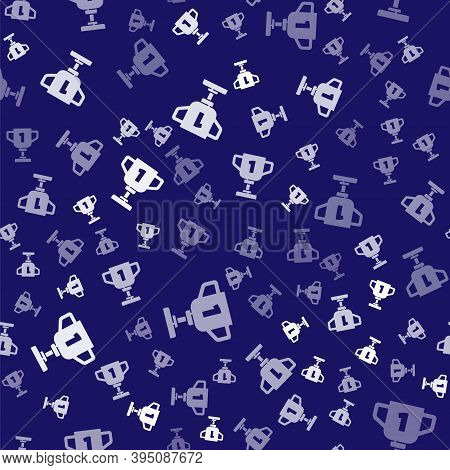 White Award Cup Icon Isolated Seamless Pattern On Blue Background. Winner Trophy Symbol. Championshi