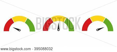 Color Speedometer Icon. Set Of Colorful Speedo. Vector Illustration On White Background . Flat Colec