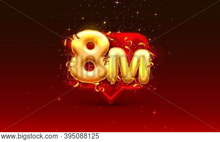 Thank You Followers Peoples, 8m Online Social Group, Happy Banner Celebrate, Vector