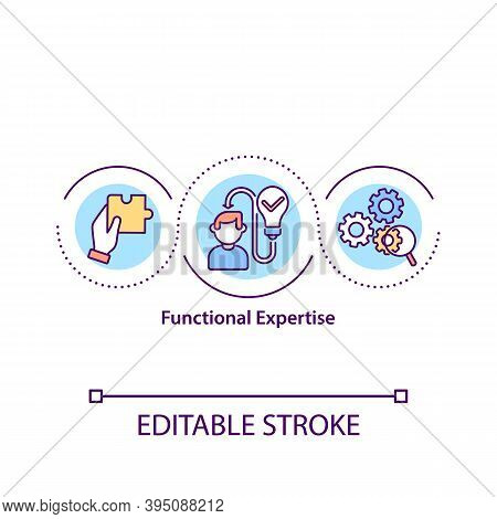 Functional Expertise Concept Icon. Deep Knowledge In Specific Area Idea Thin Line Illustration. Expe