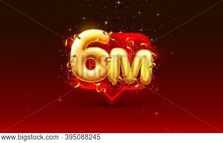 Thank You Followers Peoples, 6m Online Social Group, Happy Banner Celebrate, Vector