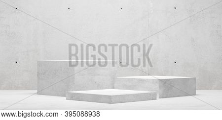 Modern Abstract Empty Concrete Room With Three Podiums In The Center, Product Presentation Template