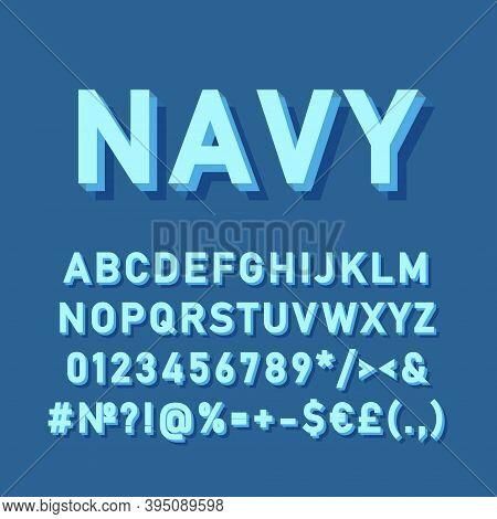 Navy Vintage 3d Vector Alphabet Set. Retro Bold Font, Typeface. Pop Art Stylized Lettering. Old Scho