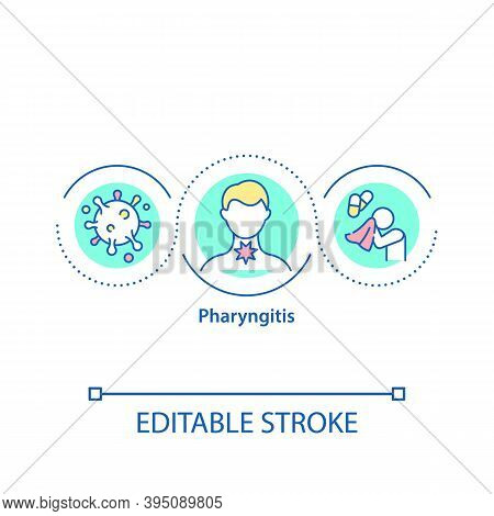 Pharyngitis Concept Icon. Getting Hard Disease. Medical Care When You Have Cold. Flu Treatment. Sore