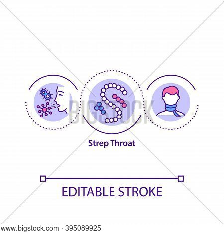 Strep Throat Concept Icon. Dangerous Bacteria For Your Health. Medical Treatment Of Throat Problems