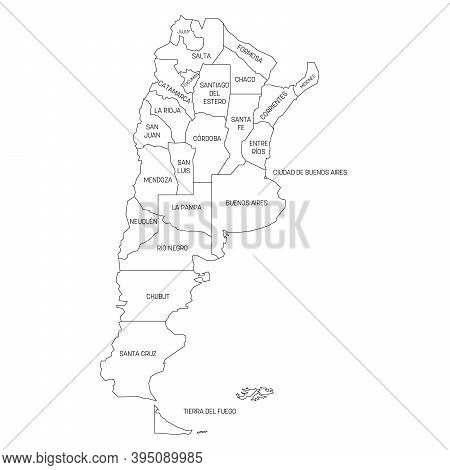 Political Map Of Argentina. Administrative Divisions - Provinces. Simple Black Outline Vector Map Wi