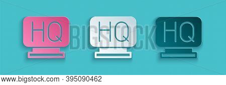 Paper Cut Military Headquarters Icon Isolated On Blue Background. Paper Art Style. Vector