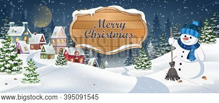 Winter Christmas Landscape Vector Background With Snow Covered Hills, Houses, Snowman In Fir Forest