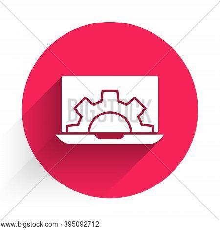 White Software, Web Development, Programming Concept Icon Isolated With Long Shadow. Programming Lan