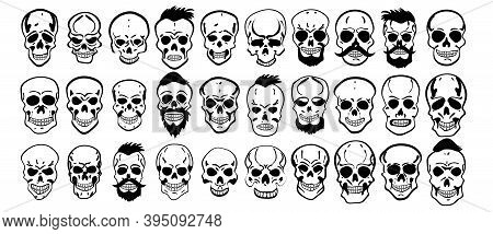 Set Of Different Skull Characters. Monochrome Style. Isolated On White Background