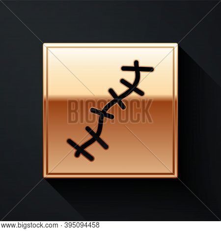 Gold Scar With Suture Icon Isolated On Black Background. Long Shadow Style. Vector