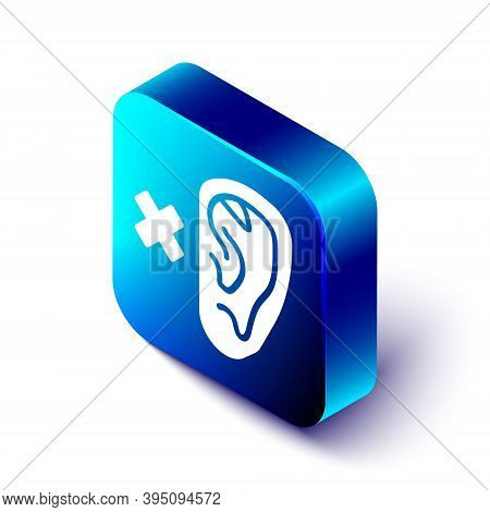 Isometric Deafness Icon Isolated On White Background. Deaf Symbol. Hearing Impairment. Blue Square B