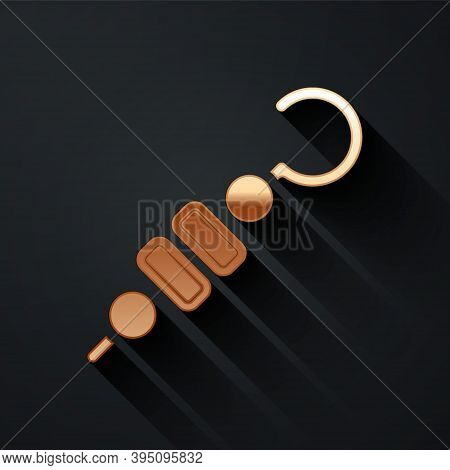 Gold Grilled Shish Kebab On Skewer Stick Icon Isolated On Black Background. Meat Kebab On Skewer Sti