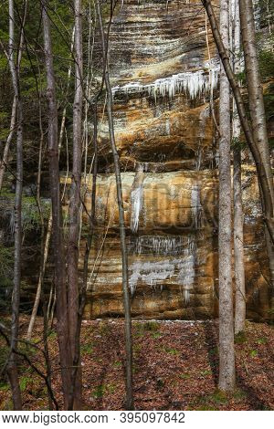 Frozen water fall formed icicles in Hocking hills state park in Ohio