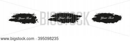 Grunge Backgrounds.set Of Black Brush Strokes, Vector Illustration . Paintbrush Grungy Drawing Frame