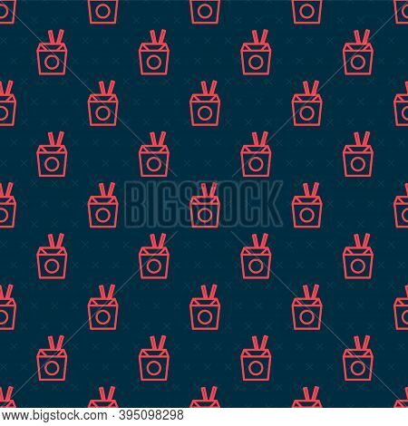 Red Line Asian Noodles In Paper Box And Chopsticks Icon Isolated Seamless Pattern On Black Backgroun