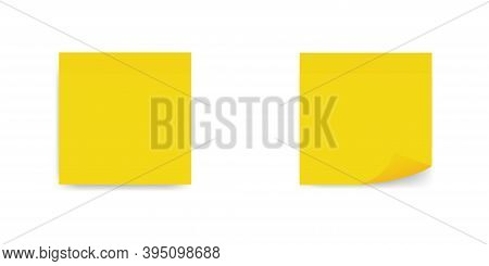 Sticky Note Yellow Colors On White Background.realystic Set Sticky Note , Vector Icon. Collection Of