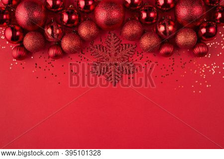 Christmas Celebration Concept. Top Above Overhead View Close Up Photo Of Beautifully Decorated Red B