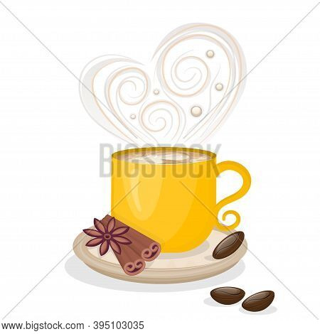 A Cup Of Coffee With Cinnamon And Grains Isolated On A White Background. Aromatic Coffee With Steam