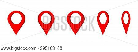 Map Pointer Icon . Set Of 3d Red Location Pointers. Map Pin . Vector Iluustration On White Backgroun