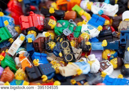 Tambov, Russian Federation - November 14, 2020 Heap Of Lego Minifigures.