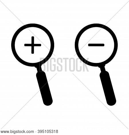 Zoom In And Zoom Out Icons. Magnify Illustration On White Backgraund . Magnifying Glass .vector.